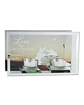 Love Mirror Double Tea Light Holder