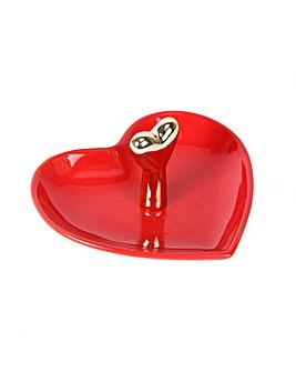 Red & Gold Heart Ring Holder