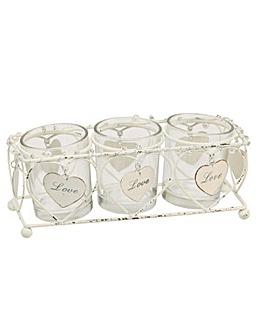 Hearts Triple Glass Tea Light Holder