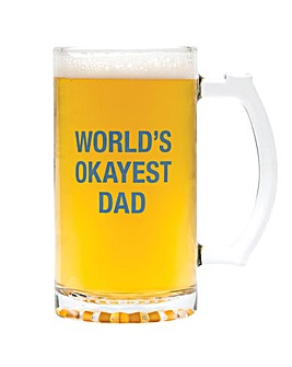 About Face Worlds Okayest Dad beer mug