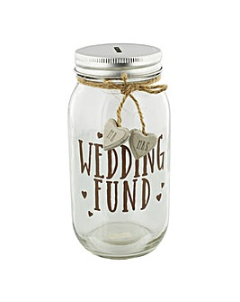 Wedding Fund Glass Mason Money Jar