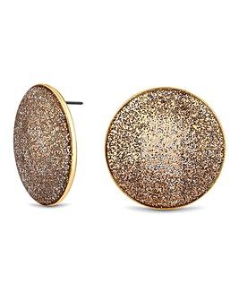 Mood Gold Glitter Disc Stud Earring