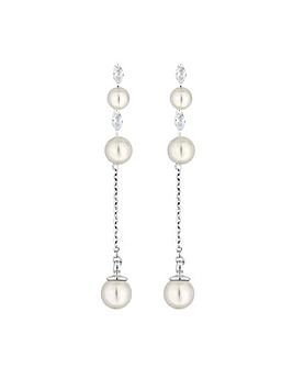 Jon Richard Linear Pearl Drop Earring