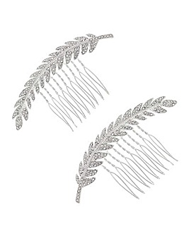 Mood Crystal Feather Hair Comb Set
