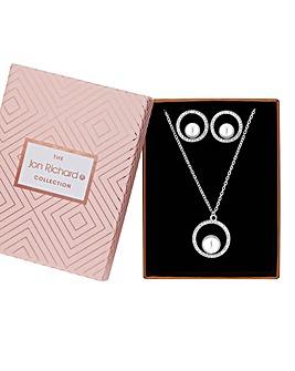 Jon Richard Pearl Hoop Jewellery Set