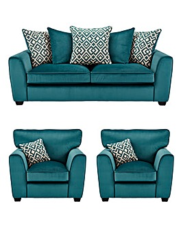 Aztec 3 Seater Sofa plus 2 Chairs