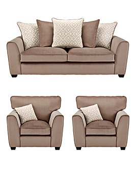 Aztec 3 Seater Sofa plus 2 Chairs