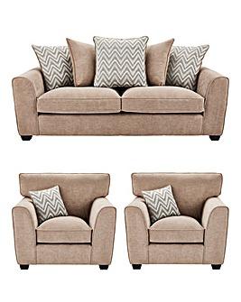 Zara 3 Seater Sofa plus 2 Chairs