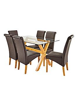 Albany Rectangular Table 6 Siena Chairs