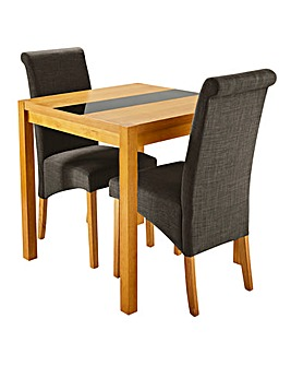 Oakham Glass with 2 Siena fabric Chairs