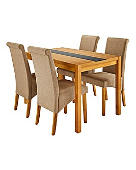 Oakham Glass with 4 Siena fabric Chairs