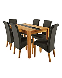 Oakham Glass with 6 Siena fabric Chairs