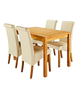 Oakham Table 4 Siena Faux Leather Chairs
