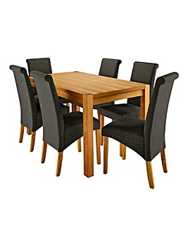 Oakham Table with 6 Siena Fabric Chairs