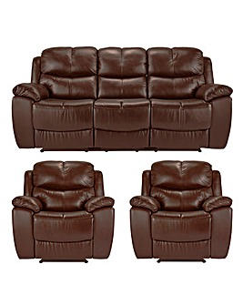 Carlton Leather Recliner 3 Seat 2 Chairs