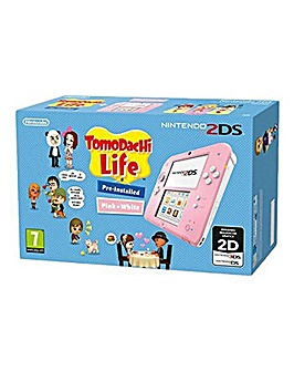 2DS Pink and White with Tomodachi Life