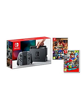 Nintendo Switch Grey Console Inc 2 Games
