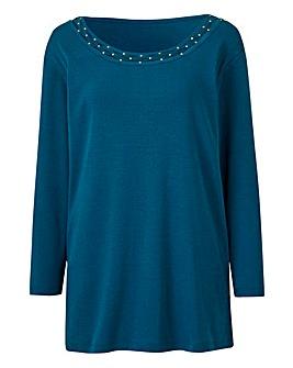Embellished Neck Jersey Top