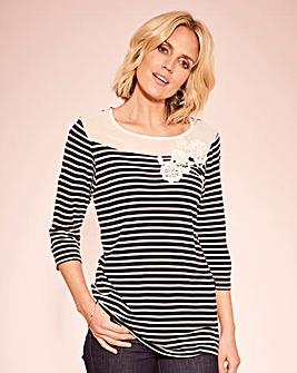 Stripe Applique Jersey Top