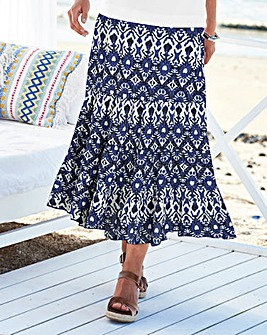 Print Crinkle Tiered Skirt 32""
