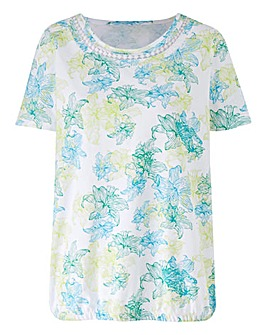 Print T Shirt with Bubble hem