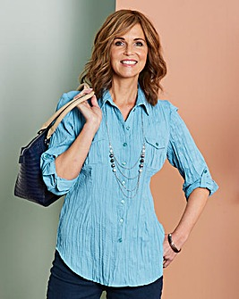 Crinkle Blouse with Necklace