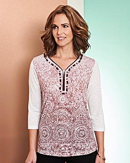 Embellished Ombre Jersey Top