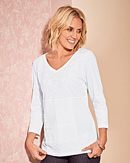 Lace and Embroidery Jersey Top
