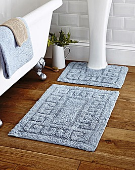 Greek Key Bathmat Set 2 Piece