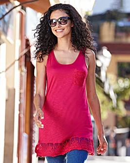 Hot Pink Lace Trim Vest Top