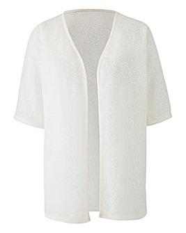White Floral Jacquard Kimono