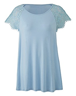 Blue Lace Sleeve Swing Top