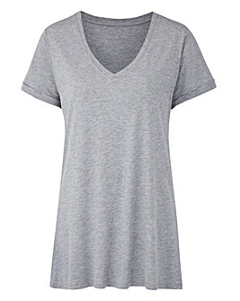 Grey Marl V Neck Viscose Tshirt