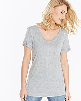 Grey Marl V Neck Viscose Tshirt