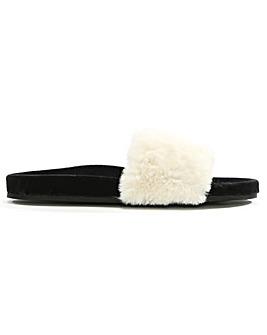 Verbenas Faux Fur One Strap Sliders