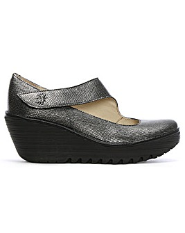 Fly London Leather Mary Jane Wedge Shoes