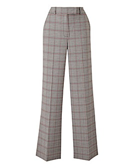 Wide Leg Checked Trousers Petite