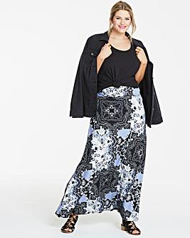 Print Stetch Jersey Maxi Skirt