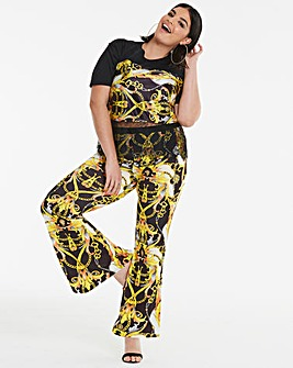 Simply Be Scarf Print Flare Trousers