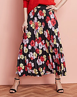Floral Print Pleat Maxi Skirt