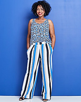 Stripe Wide Leg Jersey Trousers Short