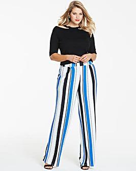 Stripe Wide Leg Jersey Trousers Long