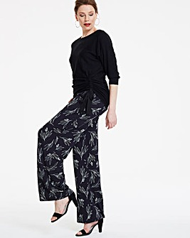 Print Wide Leg Jersey Trousers Reg