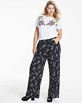 Print Wide Leg Jersey Trousers Long