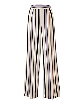 Petite Striped Crepe Wide Leg Trouser