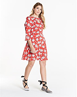 Simply Be Print Choker Skater Dress