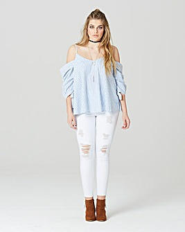 Simply Be Stripe Cold Shoulder Blouse