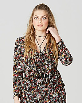 Simply Be Tie Front Ditzy Print Blouse