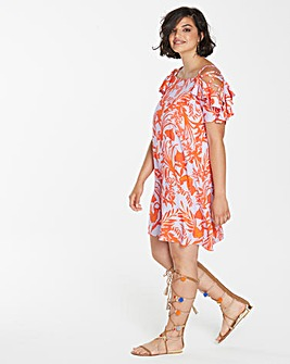 Simply Be Floral Lace Up Sleeve Dress