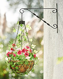 Hanging Flower Basket With Solar Light